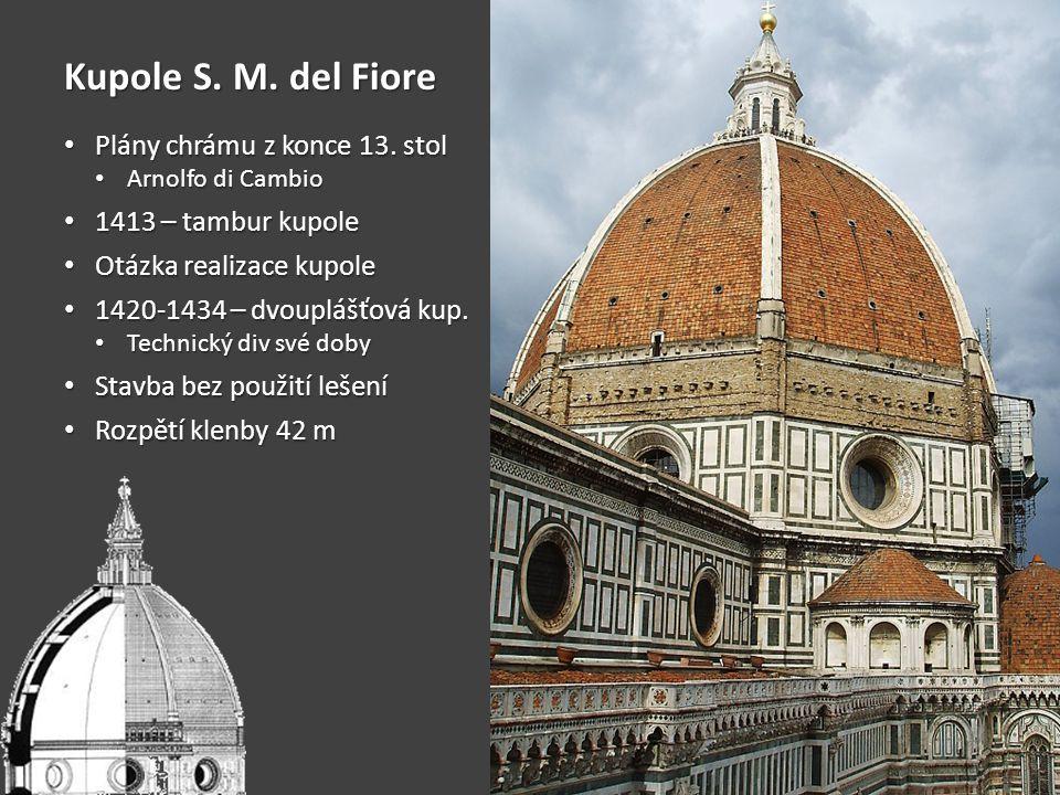Kupole S. M. del Fiore • Plány chrámu z konce 13. stol • Arnolfo di Cambio • 1413 – tambur kupole • Otázka realizace kupole • 1420-1434 – dvouplášťová