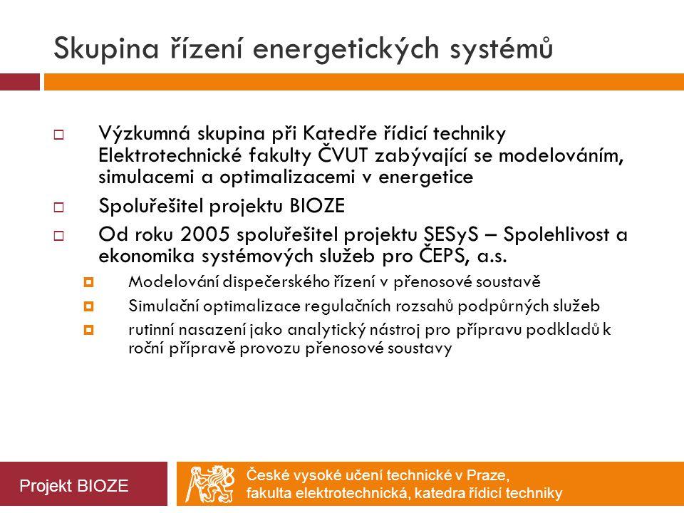 České vysoké učení technické v Praze, fakulta elektrotechnická, katedra řídicí techniky Simulace řízení – detail 24h, scénář 1 Projekt BIOZE  E MAX = 65 kWh (maximální import)  E MIN = -84 kWh (maximální export)   E + = 608 kWh (celková spotřeba)   E - = -503 kWh (celková výroba)  E MAX = 58 kWh  E MIN = -56 kWh   E + = 496 kWh   E - = -418 kWh