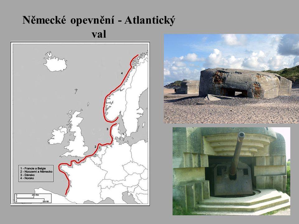 Zajištění obrany proti případné invazi Spojenců: • Němci vybudovali na západním pobřeží Atlantiku systém opevnění táhnoucí se od pobřeží Norska přes Dánsko, Německo, Holandsko, Belgii a Francii – Atlantický val • Nejvíce bunkrů se nacházelo v oblasti Pas de Calais.