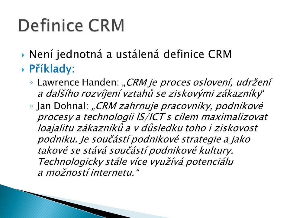 """ Není jednotná a ustálená definice CRM  Příklady: ◦ Lawrence Handen: """"CRM je proces oslovení, udržení a dalšího rozvíjení vztahů se ziskovými zákazníky ◦ Jan Dohnal: """"CRM zahrnuje pracovníky, podnikové procesy a technologii IS/ICT s cílem maximalizovat loajalitu zákazníků a v důsledku toho i ziskovost podniku."""