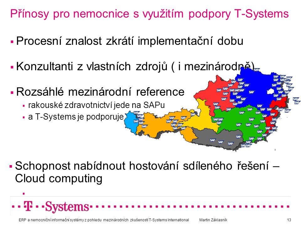 Přínosy pro nemocnice s využitím podpory T-Systems  Procesní znalost zkrátí implementační dobu  Konzultanti z vlastních zdrojů ( i mezinárodně)  Ro