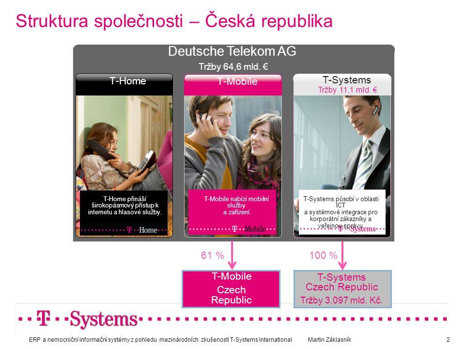 Struktura společnosti – Česká republika T-Systems Czech Republic Tržby 3,097 mld. Kč. T-Mobile T-Home T-Mobile nabízí mobilní služby a zařízení. T-Hom