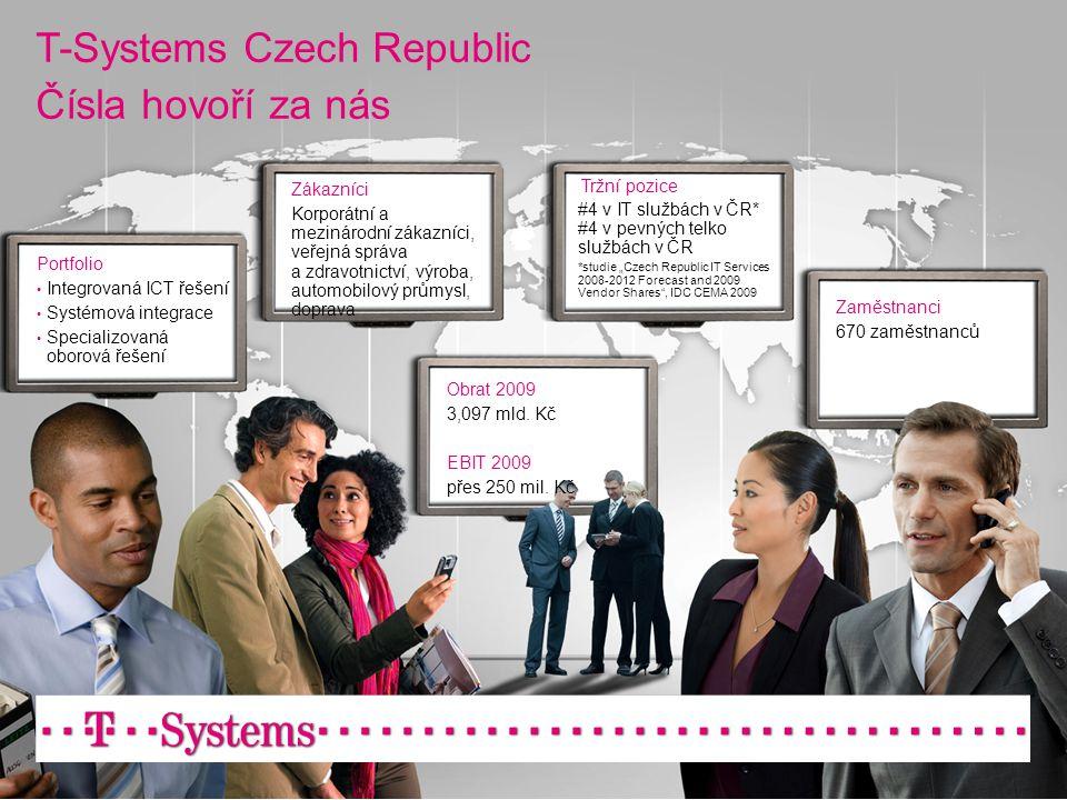 T-Systems Czech Republic Čísla hovoří za nás Portfolio • Integrovaná ICT řešení • Systémová integrace • Specializovaná oborová řešení Zákazníci Korpor