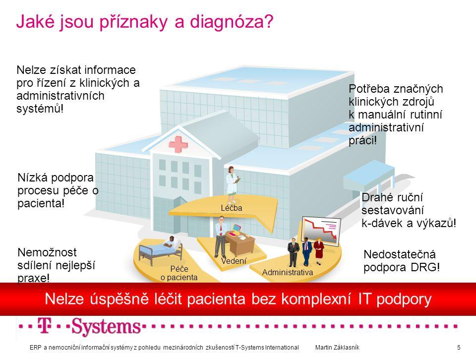 Jaké jsou příznaky a diagnóza? a Péče o pacienta Léčba Administrativa Vedení Nelze získat informace pro řízení z klinických a administrativních systém