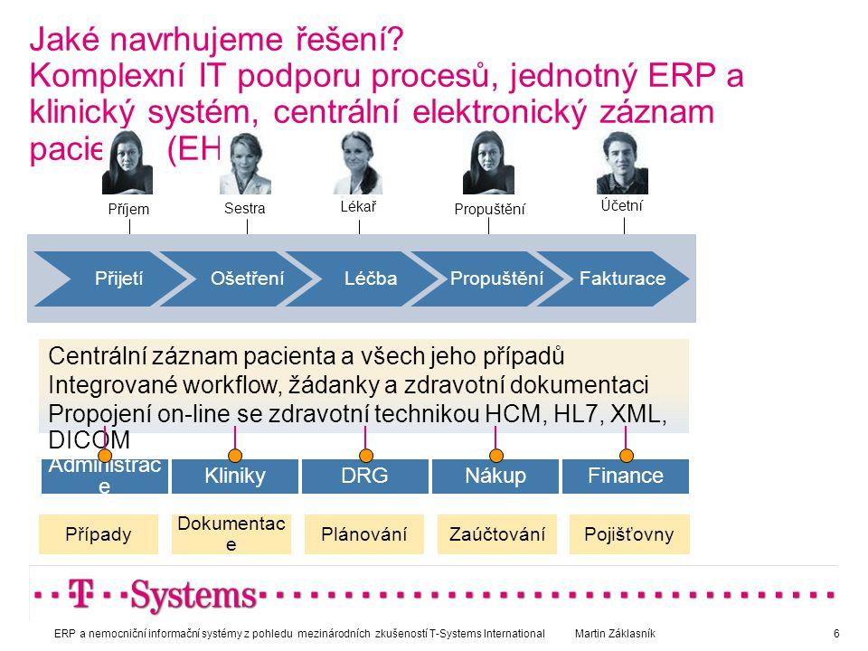 Jaké navrhujeme řešení? Komplexní IT podporu procesů, jednotný ERP a klinický systém, centrální elektronický záznam pacienta (EHR) Příjem Účetní Sestr