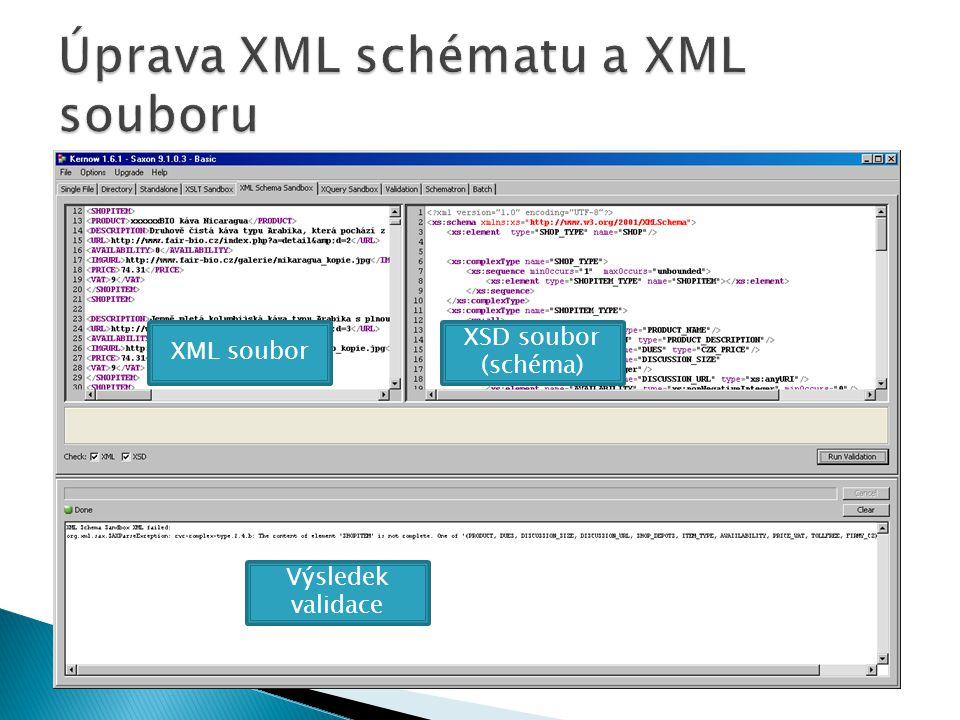 XML soubor XSD soubor (schéma) Výsledek validace