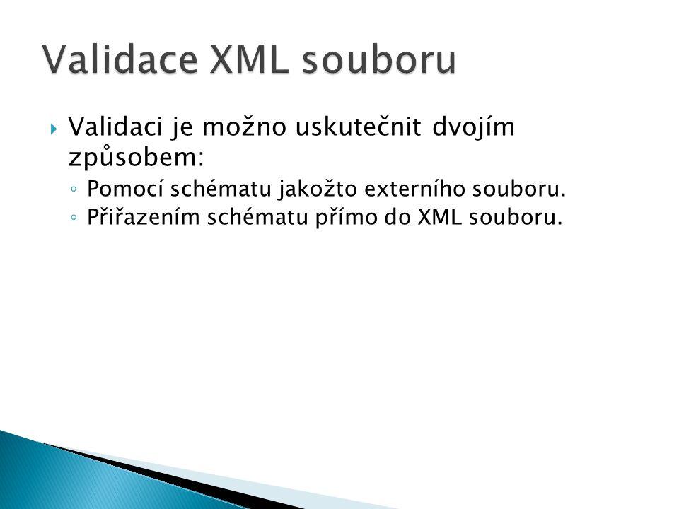  Validaci je možno uskutečnit dvojím způsobem: ◦ Pomocí schématu jakožto externího souboru. ◦ Přiřazením schématu přímo do XML souboru.