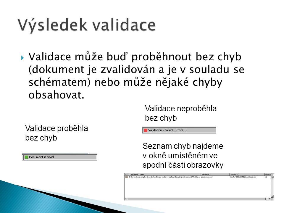  Validace může buď proběhnout bez chyb (dokument je zvalidován a je v souladu se schématem) nebo může nějaké chyby obsahovat. Validace proběhla bez c