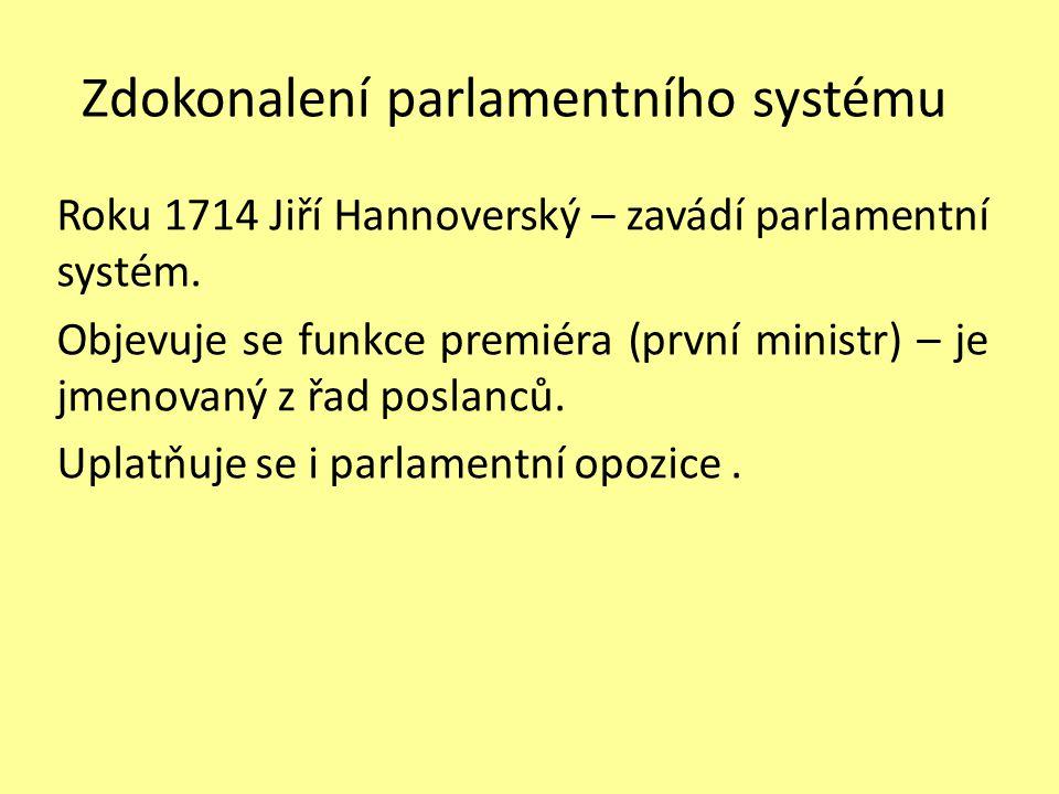 Zdokonalení parlamentního systému Roku 1714 Jiří Hannoverský – zavádí parlamentní systém.