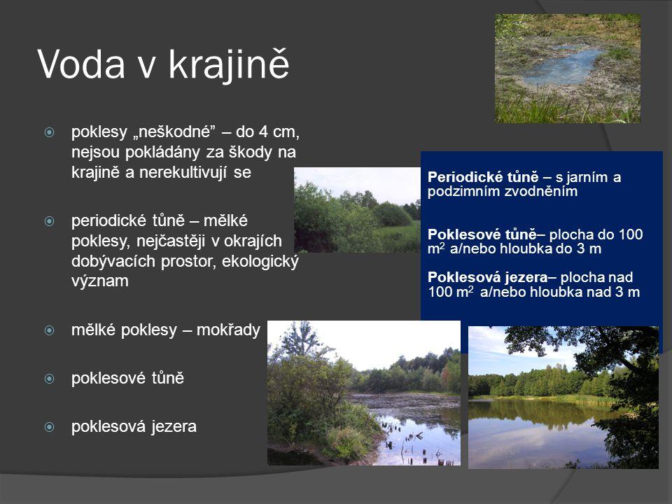 """Voda v krajině  poklesy """"neškodné"""" – do 4 cm, nejsou pokládány za škody na krajině a nerekultivují se  periodické tůně – mělké poklesy, nejčastěji v"""
