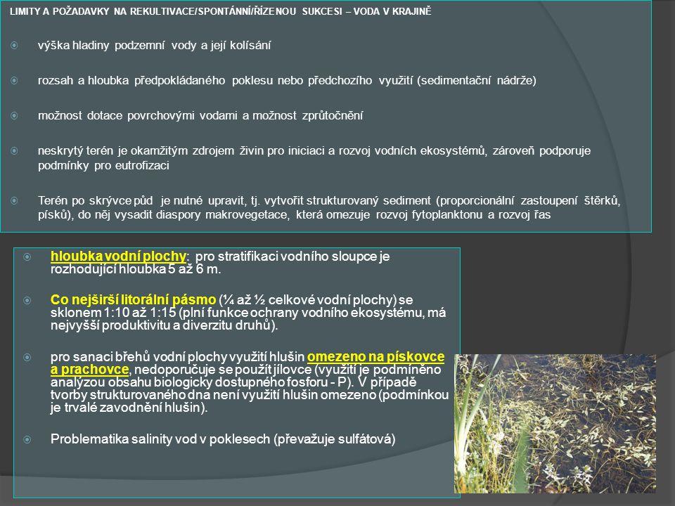 LIMITY A POŽADAVKY NA REKULTIVACE/SPONTÁNNÍ/ŘÍZENOU SUKCESI – VODA V KRAJINĚ  výška hladiny podzemní vody a její kolísání  rozsah a hloubka předpokl