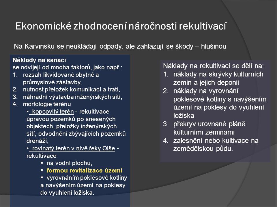 Ekonomické zhodnocení náročnosti rekultivací Na Karvinsku se neukládají odpady, ale zahlazují se škody – hlušinou Náklady na rekultivaci se dělí na: 1