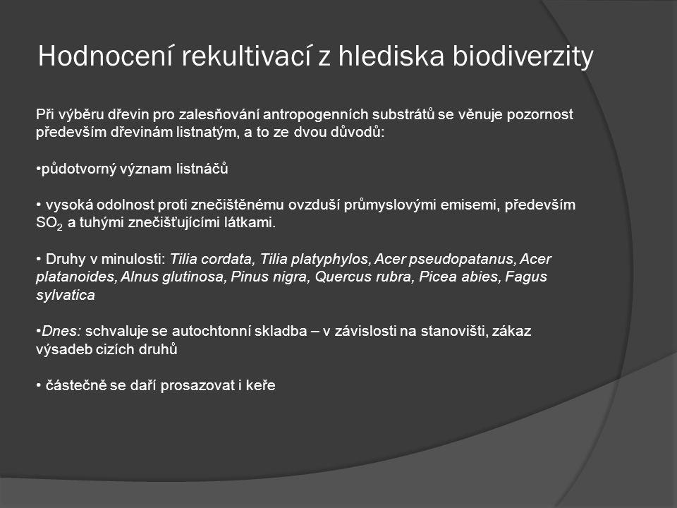Hodnocení rekultivací z hlediska biodiverzity Při výběru dřevin pro zalesňování antropogenních substrátů se věnuje pozornost především dřevinám listna