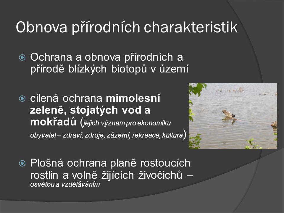 Obnova přírodních charakteristik  Ochrana a obnova přírodních a přírodě blízkých biotopů v území  cílená ochrana mimolesní zeleně, stojatých vod a m