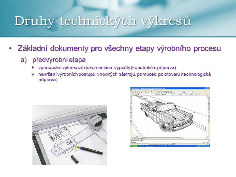 Druhy technických výkresů •Základní dokumenty pro všechny etapy výrobního procesu a)předvýrobní etapa  zpracování výkresové dokumentace, výpočty (kon