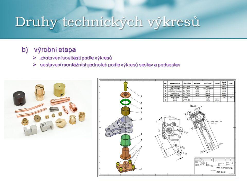 Druhy technických výkresů b)výrobní etapa  zhotovení součástí podle výkresů  sestavení montážních jednotek podle výkresů sestav a podsestav