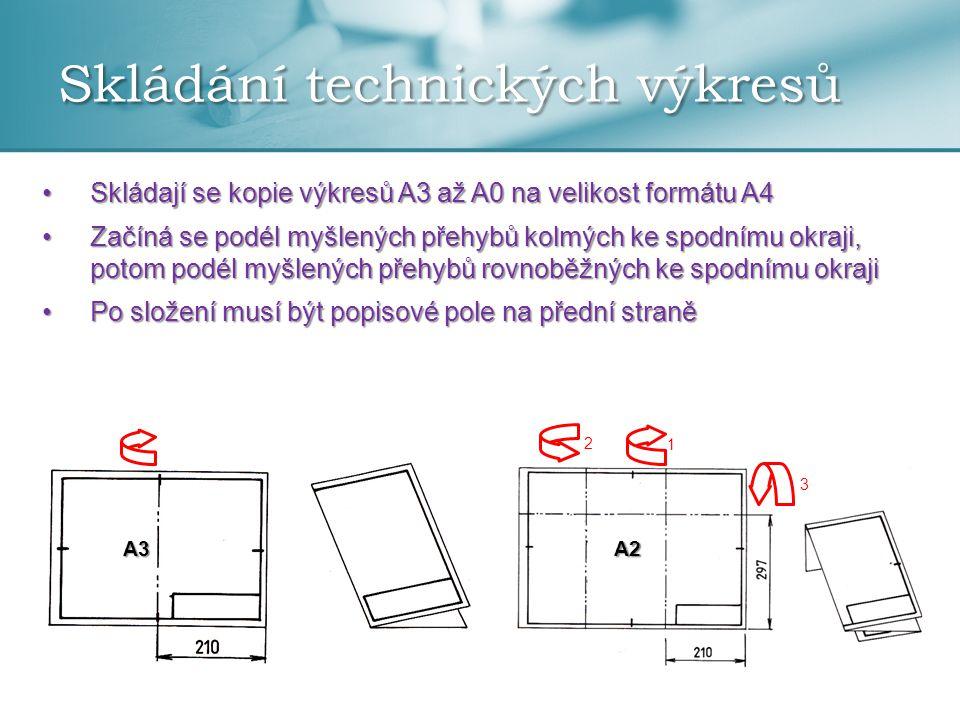 Skládání technických výkresů •Skládají se kopie výkresů A3 až A0 na velikost formátu A4 •Začíná se podél myšlených přehybů kolmých ke spodnímu okraji,