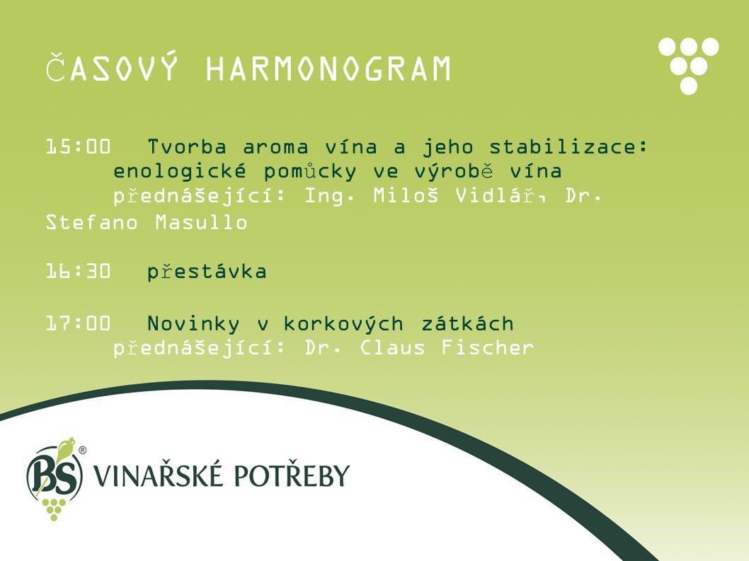 ČASOVÝ HARMONOGRAM 15:00Tvorba aroma vína a jeho stabilizace: enologické pomůcky ve výrobě vína přednášející: Ing. Miloš Vidlář, Dr. Stefano Masullo 1