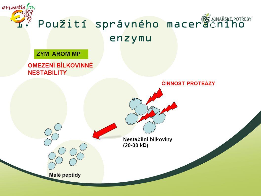 1. Použití správného maceračního enzymu OMEZENÍ BÍLKOVINNÉ NESTABILITY ZYM AROM MP ČINNOST PROTEÁZY Nestabilní bílkoviny (20-30 kD) Malé peptidy