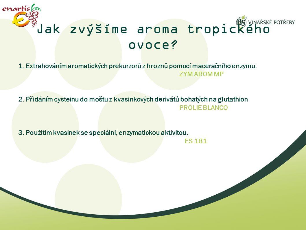 Jak zvýšíme aroma tropického ovoce? 1. Extrahováním aromatických prekurzorů z hroznů pomocí maceračního enzymu. ZYM AROM MP 2. Přidáním cysteinu do mo