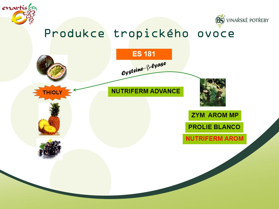 Produkce tropického ovoce Cysteine  -lyase ZYM AROM MP ES 181 PROLIE BLANCO NUTRIFERM AROM NUTRIFERM ADVANCE THIOLY