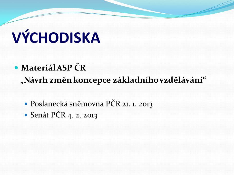 """VÝCHODISKA  Materiál ASP ČR """"Návrh změn koncepce základního vzdělávání""""  Poslanecká sněmovna PČR 21. 1. 2013  Senát PČR 4. 2. 2013"""