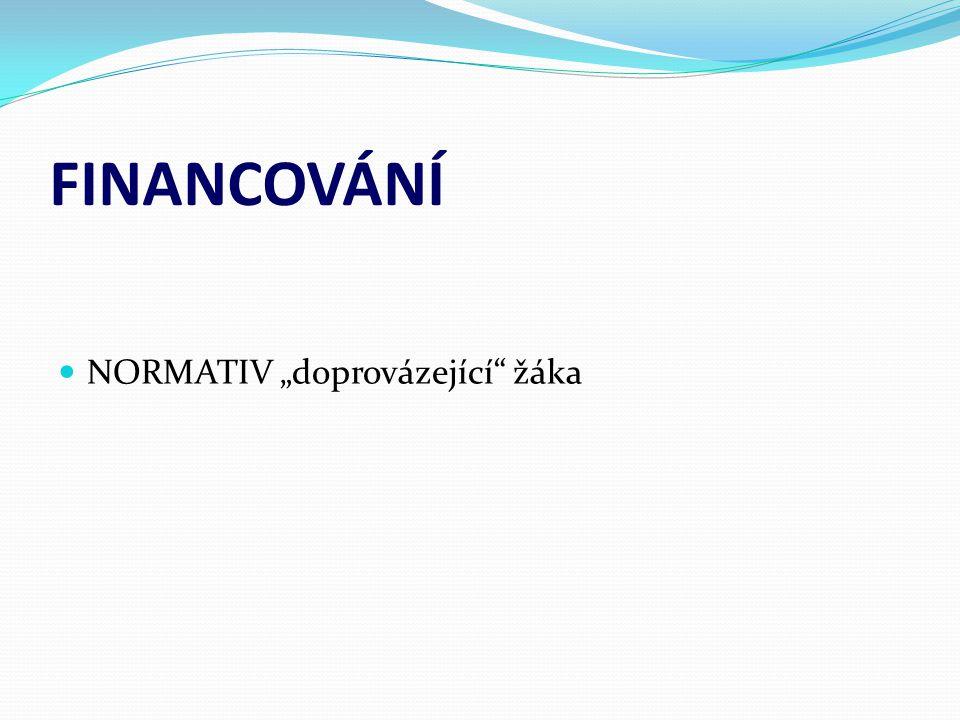 """FINANCOVÁNÍ  NORMATIV """"doprovázející"""" žáka"""