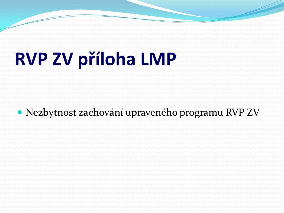 NESOULAD RVP ZV a RVP ZV příloha LMP Učební plán Očekávané výstupy  Zaměřený na další vzdělávání žáka  Zaměřené na individuální možnosti žáka