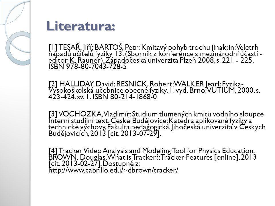 Literatura: [1] TESAŘ, Jiří; BARTOŠ, Petr: Kmitavý pohyb trochu jinak; in: Veletrh nápadů učitelů fyziky 13. (Sborník z konference s mezinárodní účast
