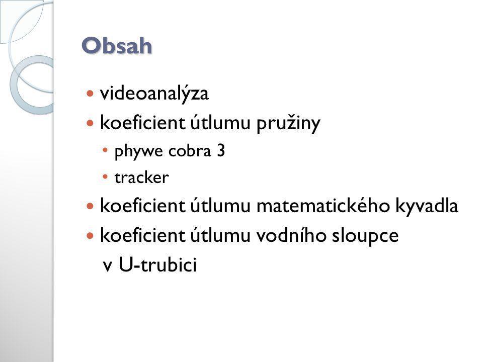 Obsah  videoanalýza  koeficient útlumu pružiny • phywe cobra 3 • tracker  koeficient útlumu matematického kyvadla  koeficient útlumu vodního sloup