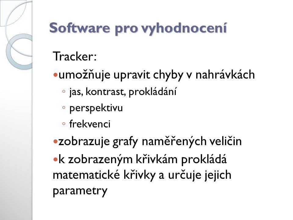 Software pro vyhodnocení Tracker:  umožňuje upravit chyby v nahrávkách ◦ jas, kontrast, prokládání ◦ perspektivu ◦ frekvenci  zobrazuje grafy naměře