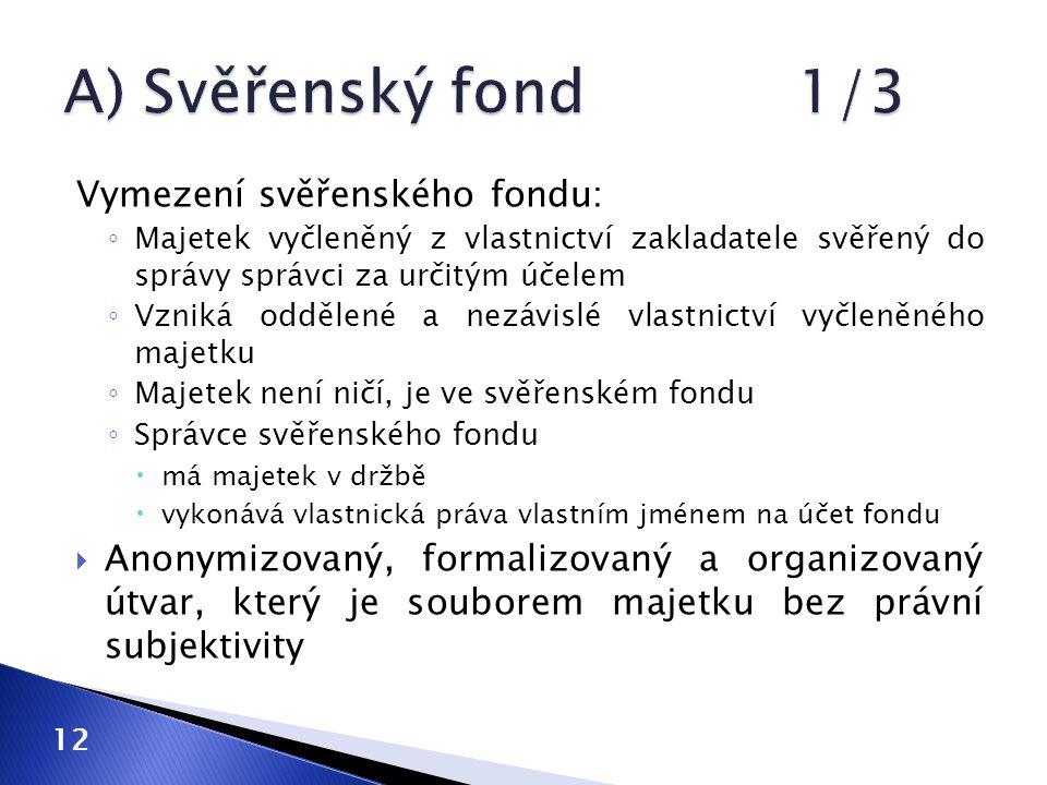 Vymezení svěřenského fondu: ◦ Majetek vyčleněný z vlastnictví zakladatele svěřený do správy správci za určitým účelem ◦ Vzniká oddělené a nezávislé vlastnictví vyčleněného majetku ◦ Majetek není ničí, je ve svěřenském fondu ◦ Správce svěřenského fondu  má majetek v držbě  vykonává vlastnická práva vlastním jménem na účet fondu  Anonymizovaný, formalizovaný a organizovaný útvar, který je souborem majetku bez právní subjektivity 12