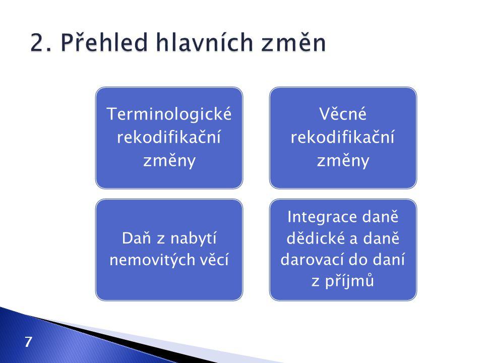 Terminologické rekodifikační změny Daň z nabytí nemovitých věcí Věcné rekodifikační změny Integrace daně dědické a daně darovací do daní z příjmů 7