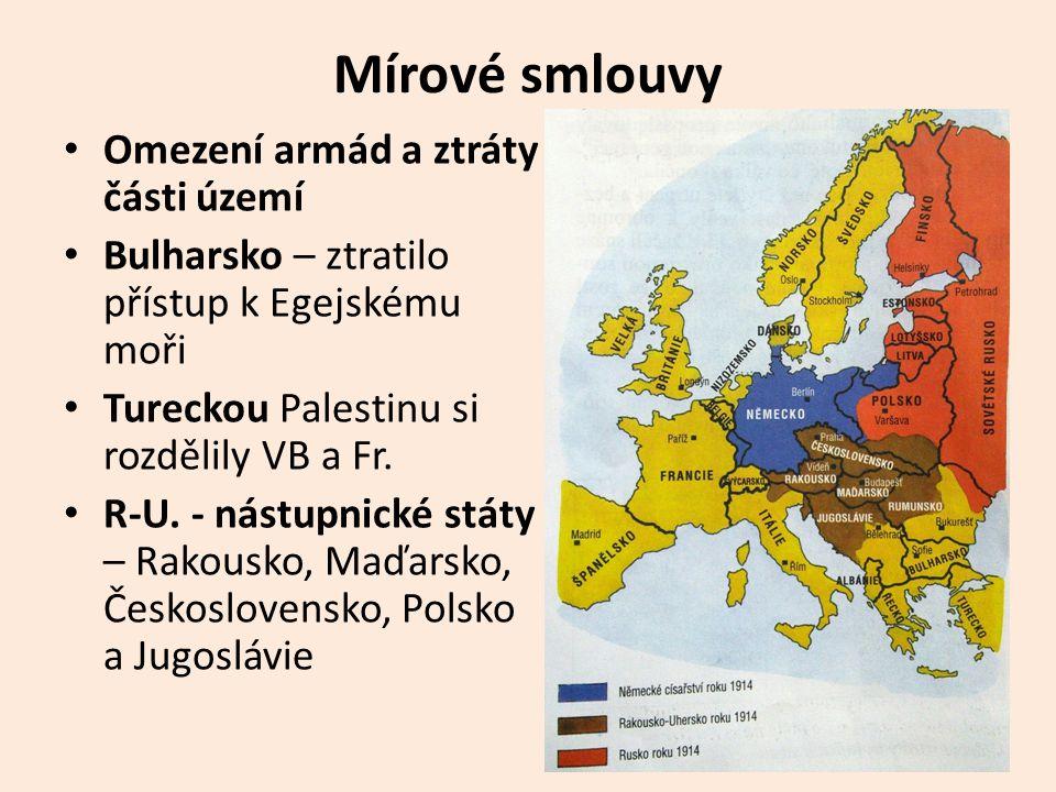 Mírové smlouvy • Omezení armád a ztráty části území • Bulharsko – ztratilo přístup k Egejskému moři • Tureckou Palestinu si rozdělily VB a Fr.