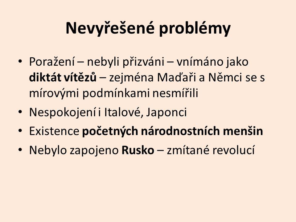Nevyřešené problémy • Poražení – nebyli přizváni – vnímáno jako diktát vítězů – zejména Maďaři a Němci se s mírovými podmínkami nesmířili • Nespokojení i Italové, Japonci • Existence početných národnostních menšin • Nebylo zapojeno Rusko – zmítané revolucí