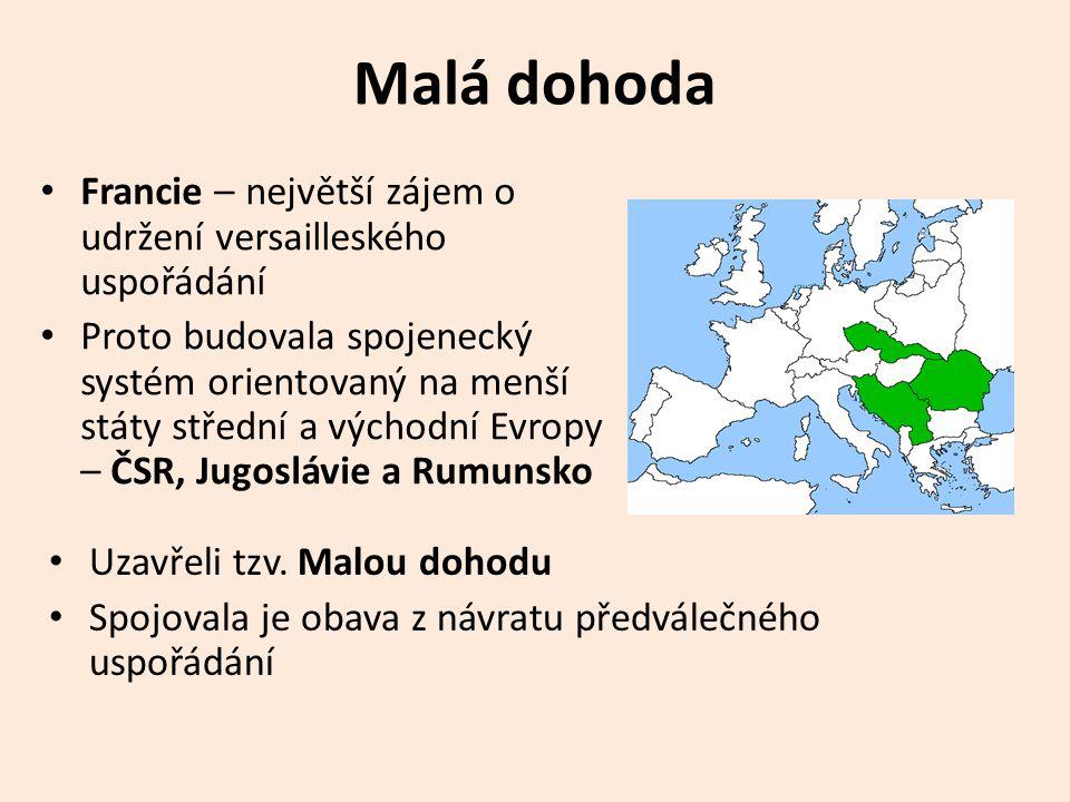 Malá dohoda • Francie – největší zájem o udržení versailleského uspořádání • Proto budovala spojenecký systém orientovaný na menší státy střední a východní Evropy – ČSR, Jugoslávie a Rumunsko • Uzavřeli tzv.