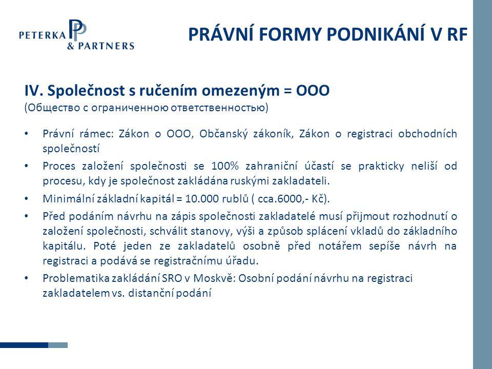 PRÁVNÍ FORMY PODNIKÁNÍ V RF IV.