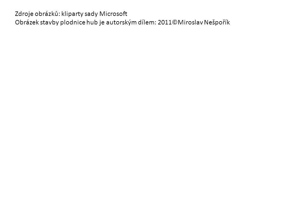 Zdroje obrázků: kliparty sady Microsoft Obrázek stavby plodnice hub je autorským dílem: 2011©Miroslav Nešpořík