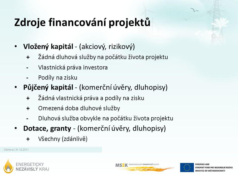 Ostrava | 31.12.2011 Zdroje financování projektů • Vložený kapitál - (akciový, rizikový) + Žádná dluhová služby na počátku života projektu - Vlastnick