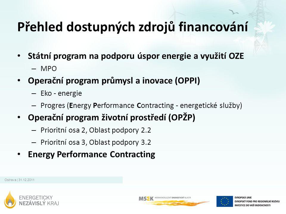 Ostrava | 31.12.2011 Přehled dostupných zdrojů financování • Státní program na podporu úspor energie a využití OZE – MPO • Operační program průmysl a inovace (OPPI) – Eko - energie – Progres (Energy Performance Contracting - energetické služby) • Operační program životní prostředí (OPŽP) – Prioritní osa 2, Oblast podpory 2.2 – Prioritní osa 3, Oblast podpory 3.2 • Energy Performance Contracting