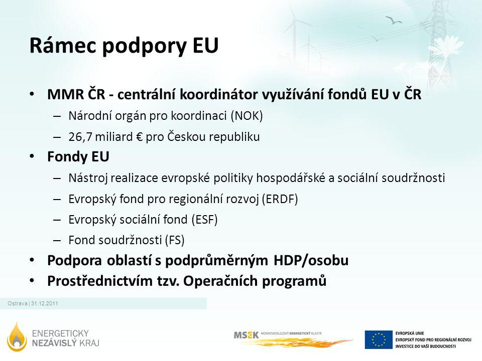 Ostrava | 31.12.2011 Rámec podpory EU • MMR ČR - centrální koordinátor využívání fondů EU v ČR – Národní orgán pro koordinaci (NOK) – 26,7 miliard € pro Českou republiku • Fondy EU – Nástroj realizace evropské politiky hospodářské a sociální soudržnosti – Evropský fond pro regionální rozvoj (ERDF) – Evropský sociální fond (ESF) – Fond soudržnosti (FS) • Podpora oblastí s podprůměrným HDP/osobu • Prostřednictvím tzv.