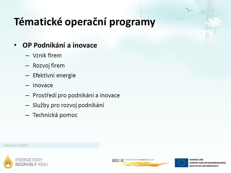Ostrava | 31.12.2011 Tématické operační programy • OP Podnikání a inovace – Vznik firem – Rozvoj firem – Efektivní energie – Inovace – Prostředí pro p