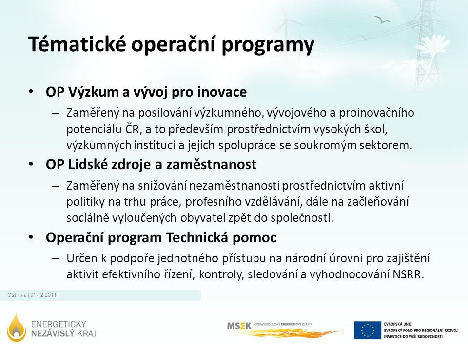 Ostrava | 31.12.2011 Tématické operační programy • OP Výzkum a vývoj pro inovace – Zaměřený na posilování výzkumného, vývojového a proinovačního poten