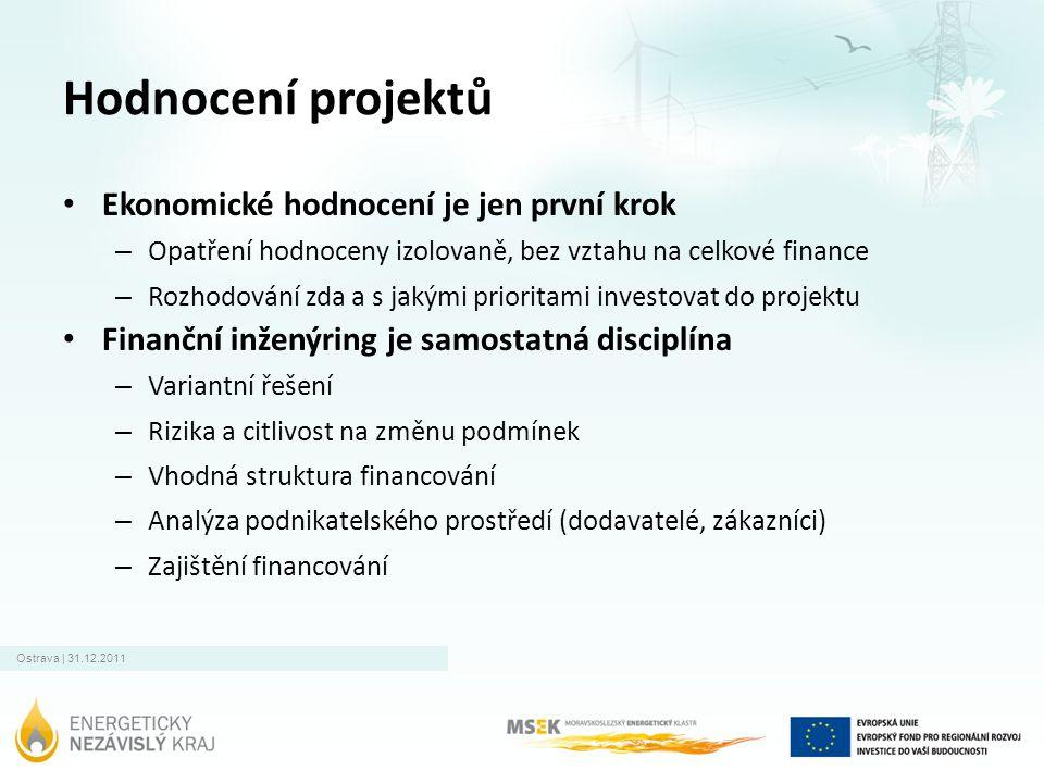 Hodnocení projektů • Ekonomické hodnocení je jen první krok – Opatření hodnoceny izolovaně, bez vztahu na celkové finance – Rozhodování zda a s jakými prioritami investovat do projektu • Finanční inženýring je samostatná disciplína – Variantní řešení – Rizika a citlivost na změnu podmínek – Vhodná struktura financování – Analýza podnikatelského prostředí (dodavatelé, zákazníci) – Zajištění financování
