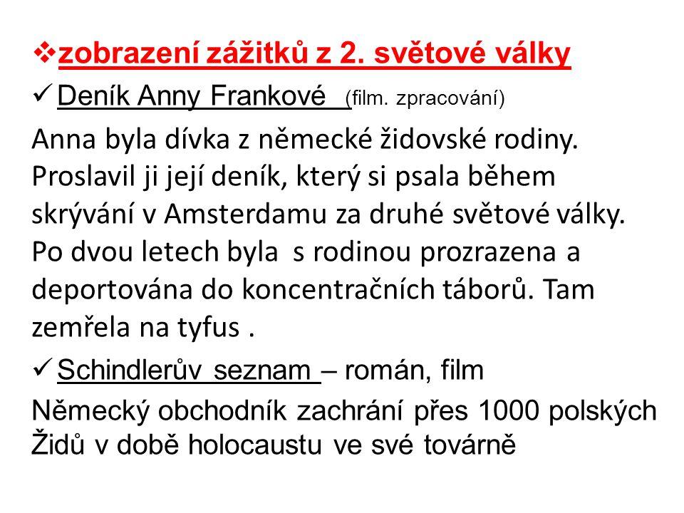  zobrazení zážitků z 2. světové války  Deník Anny Frankové (film. zpracování) Anna byla dívka z německé židovské rodiny. Proslavil ji její deník, kt