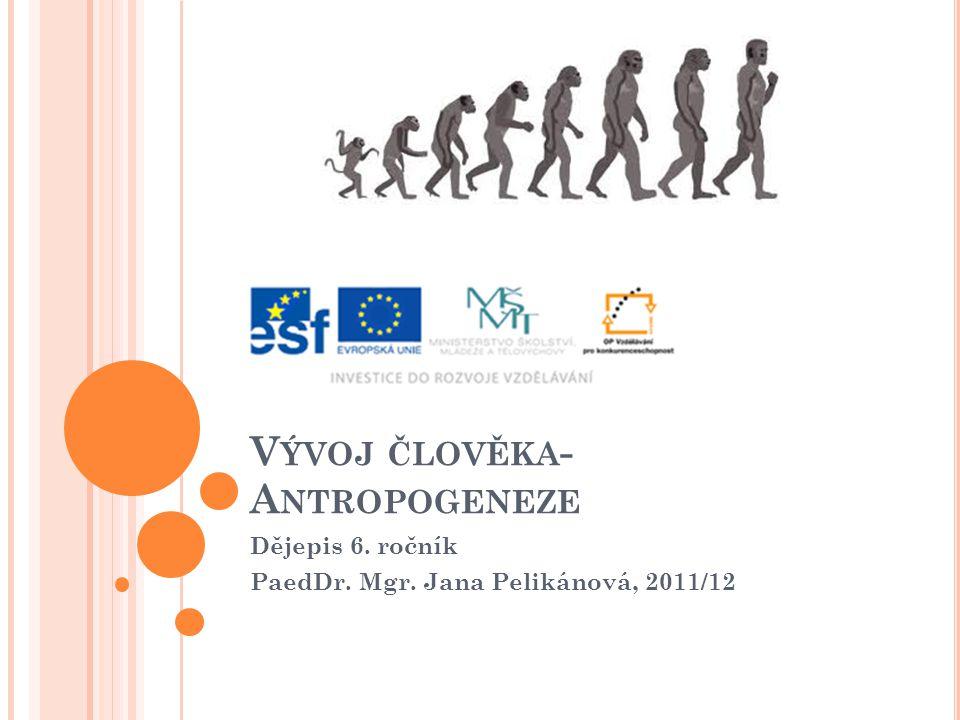 V ÝVOJ ČLOVĚKA - A NTROPOGENEZE Dějepis 6. ročník PaedDr. Mgr. Jana Pelikánová, 2011/12