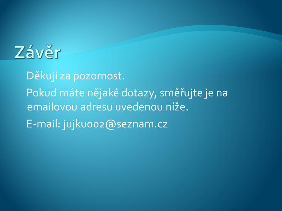 Děkuji za pozornost. Pokud máte nějaké dotazy, směřujte je na emailovou adresu uvedenou níže. E-mail: jujku002@seznam.cz