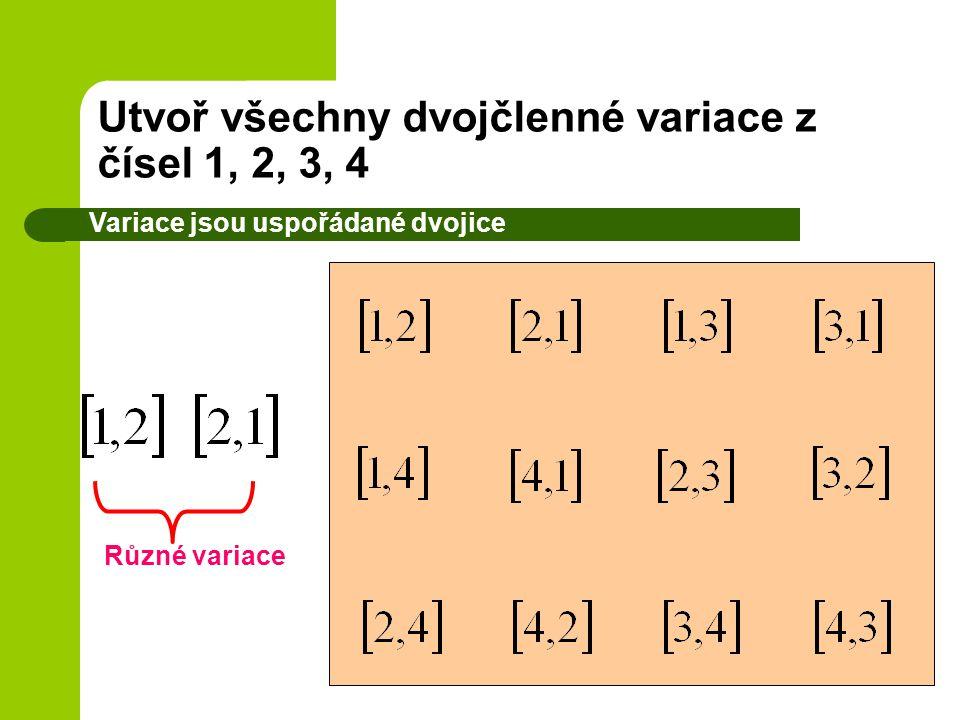Utvoř všechny dvojčlenné variace z čísel 1, 2, 3, 4 Variace jsou uspořádané dvojice Různé variace