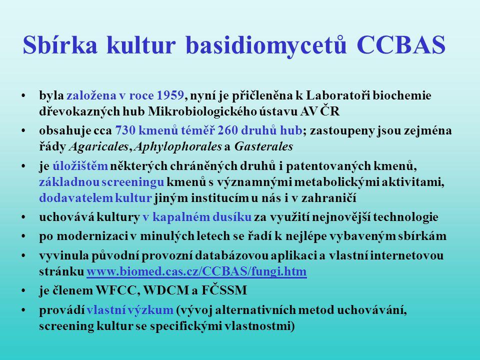 Sbírka kultur basidiomycetů CCBAS •byla založena v roce 1959, nyní je přičleněna k Laboratoři biochemie dřevokazných hub Mikrobiologického ústavu AV Č