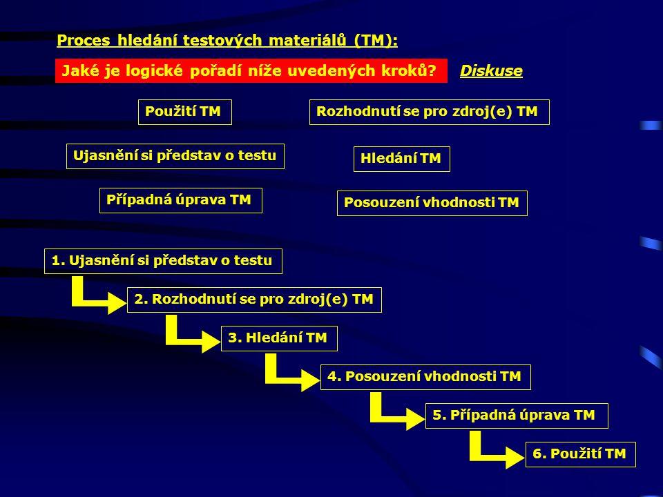Proces hledání testových materiálů (TM): Diskuse Ujasnění si představ o testu Rozhodnutí se pro zdroj(e) TM Hledání TM Posouzení vhodnosti TM Případná úprava TM Použití TM Jaké je logické pořadí níže uvedených kroků.